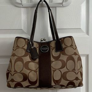 COACH Signature Stripe Framed Carryall
